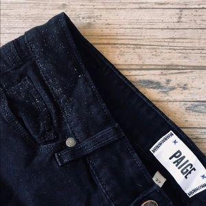 Denim - Paige skinny sparkle racer stripe black jeans